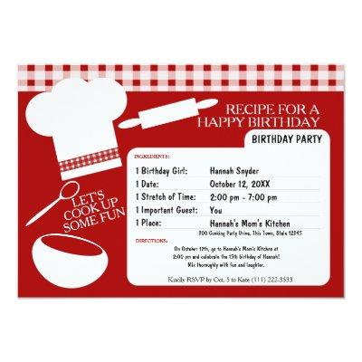 Cooking Birthday Party Recipe