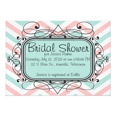 Coral Baby Blue Chevron Bridal Shower