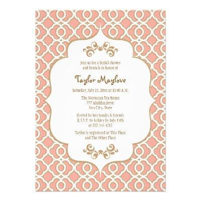 Coral Gold Moroccan Bridal Shower Invites