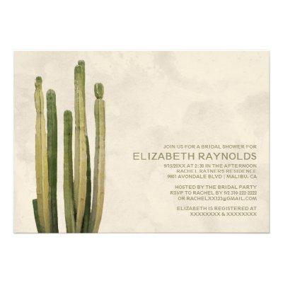 Country Cactus Bridal Shower  Custom Invitation