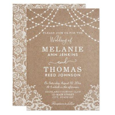 Country Lace and Kraft Wedding Invitation, Rustic