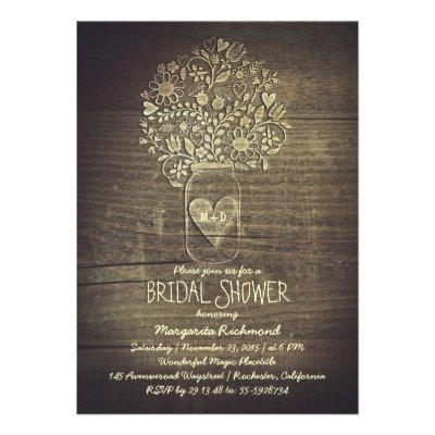 country rustic mason jar floral bridal shower personalized announcements