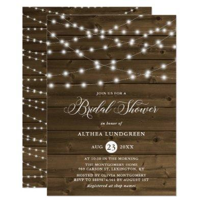 Country Rustic String Lights Wood Bridal Shower
