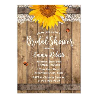 Country Sunflower Rustic Lace Barrel Bridal Shower