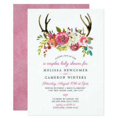 Couples Baby Shower, pink floral antlers invites
