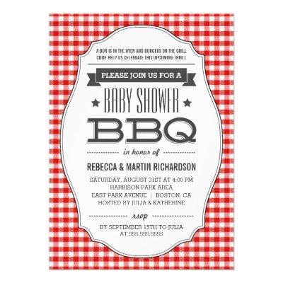Couples BBQ Baby Shower  Custom Announcements