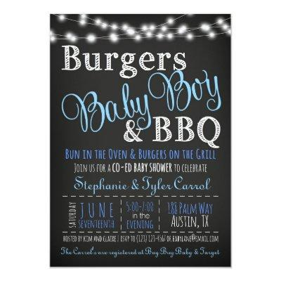 Couples Coed Burger Baby Boy BBQ Shower