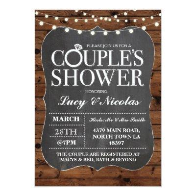 Couples Shower Chalk String Lights Invite