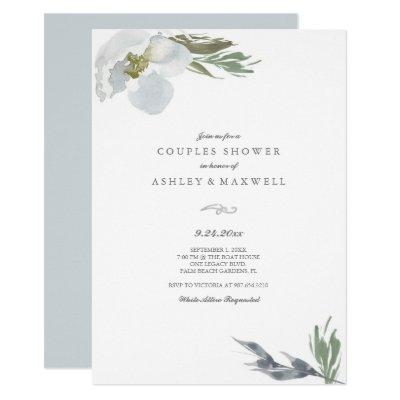 Couples Shower Cool Grey Watercolor Florals