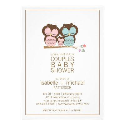 Cute Owl Family Couples Baby Shower