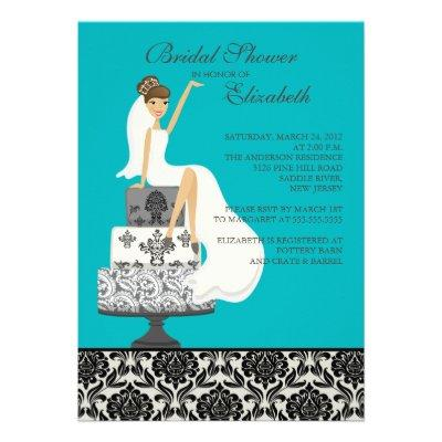 Damask Brunette Bride Bridal Shower
