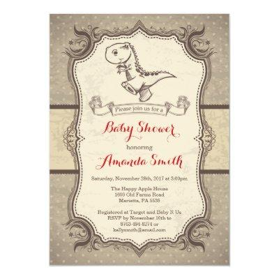 Dinosaur Baby Shower  Vintage Retro