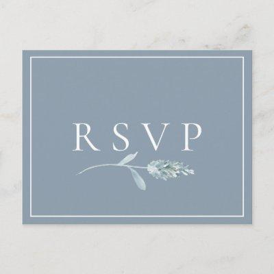 Dusty Blue Botanical Wedding RSVP Song Request Invitation Post