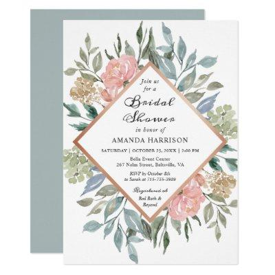 Dusty Pink Rustic Floral Pastel Chic Bridal Shower