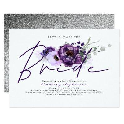 Eggplant Purple Floral Calligraphy Bridal Shower