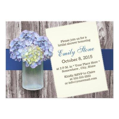 Elegant Blue Hydrangea & Mason Jar Bridal Shower Custom