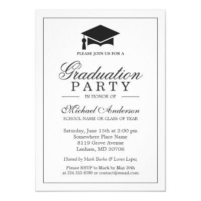Elegant Classic Black White Graduation Party
