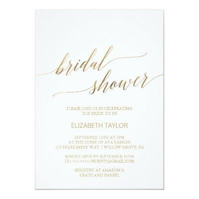 Elegant Gold Calligraphy Bridal Shower