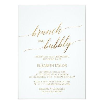 Elegant Gold Calligraphy Brunch & Bubbly