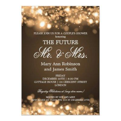 Elegant Mr Mrs Couples Shower Gold Sparkle Lights Custom Invite
