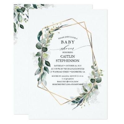 Eucalyptus Greenery Geometric Modern Baby Shower
