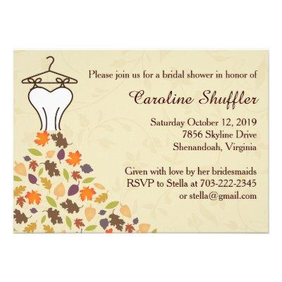 Fall Autumn Leaves Wedding Dress Bridal Shower Personalized Invites