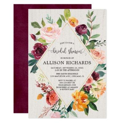 Fall bridal shower, geometric rustic floral