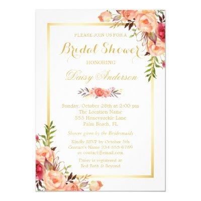 Fall Bridal Shower Rustic Orange Floral Chic Gold