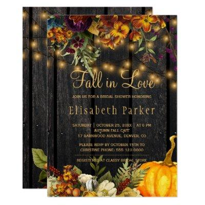 Fall in Love autumn floral barn wood bridal shower