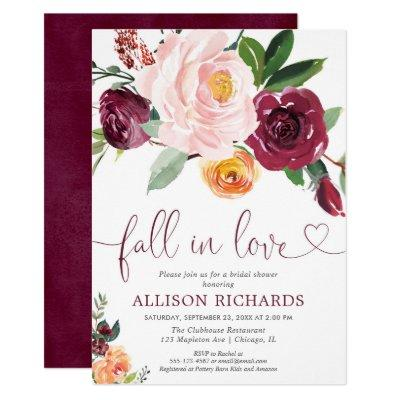 Fall in love fall floral burgundy bridal shower