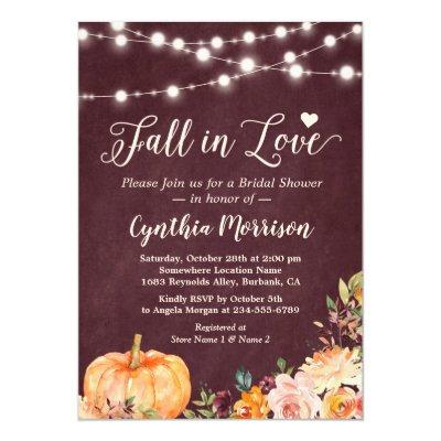 Fall in Love String Lights Floral Bridal Shower