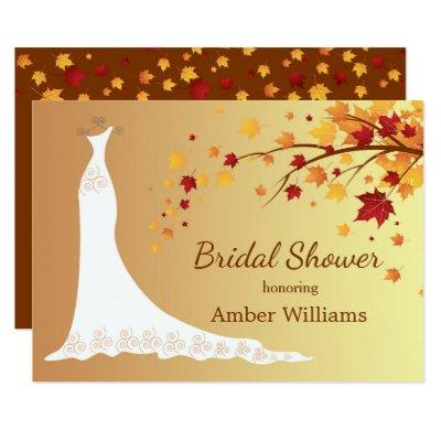 Falling autumn leaves, wedding gown Bridal Shower