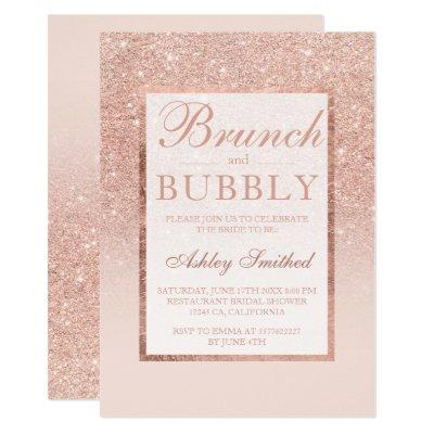 Faux rose gold glitter brunch bubbly bridal shower