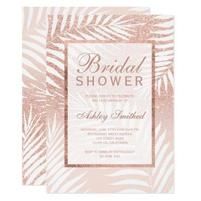 Faux rose gold glitter palm tree bridal shower