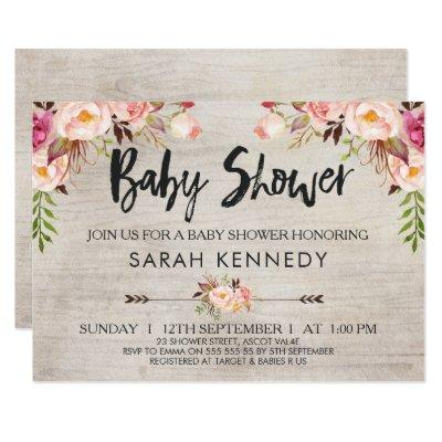 Floral Boho Rustic Baby Shower