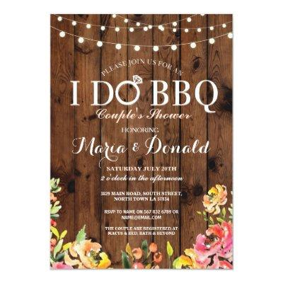 Floral I DO BBQ Couples Shower Coral Wood Invite
