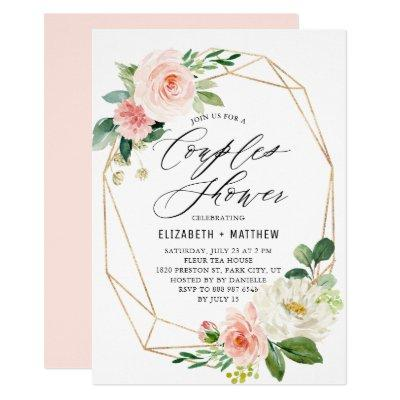 Geometric Gold Frame Peach Florals Couples Shower