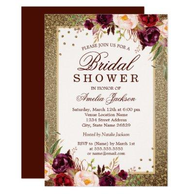 Gold Burgundy floral Sparkle Bridal Shower
