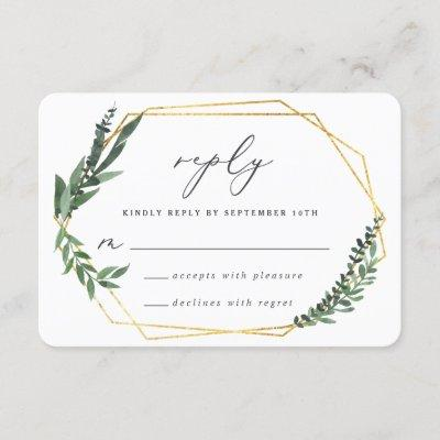 Gold geometric frame leafy wedding reply