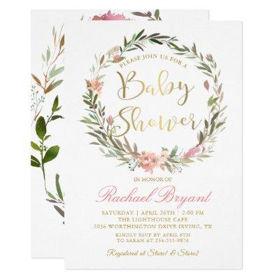 Gold Script Greenery Floral Wreath Baby Shower