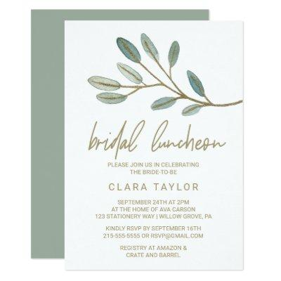 Gold Veined Eucalyptus Bridal Luncheon