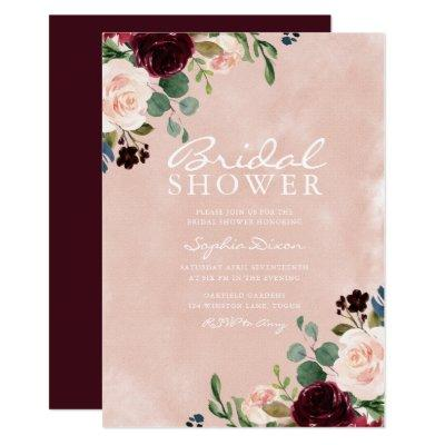 Gorgeous Blush Watercolor Burgundy Bridal Shower