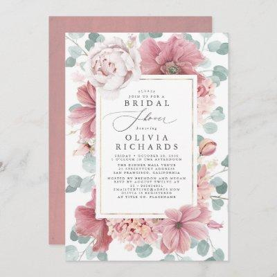 Greenery and Dusty Rose Floral Bridal Shower