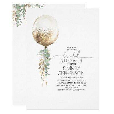 Greenery and Gold Glitter Balloon Bridal Shower