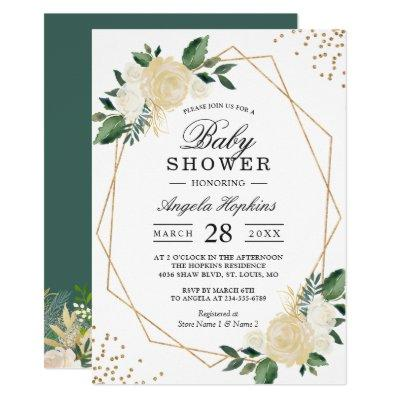 Greenery Floral Gold Glitters Baby Shower Brunch