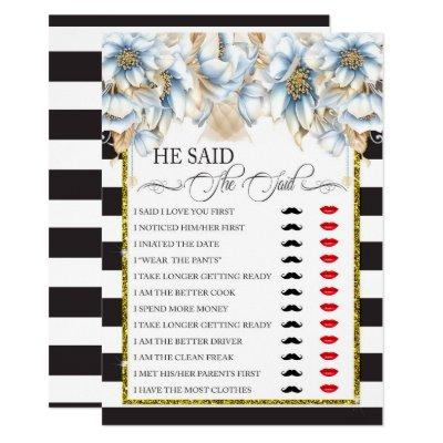 He Said/She Said Bridal Shower Game