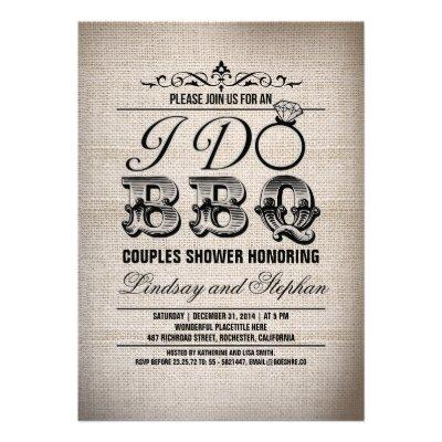 I do BBQ burlap couples shower