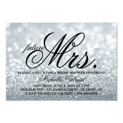 "Invite - Lit Glitter Bridal Shower future Mrs. 3.5"" X 5"" Invitation Invitations"