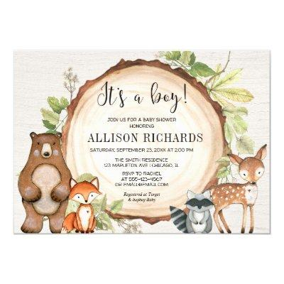 It's a boy rustic woodland animals baby shower