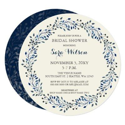 Ivory and Navy Floral Bridal Shower